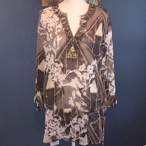 Chico's | Brown Floral Sheer Tunic